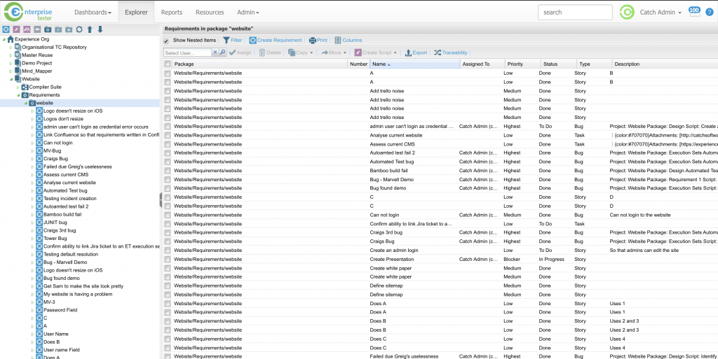 Enterprise Tester in action, drilling down on test cases and seeing test executions