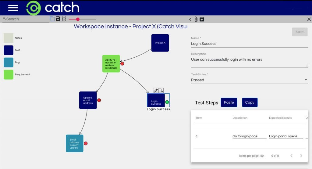 Image of SmartMap being used for test management and quality assurance planning