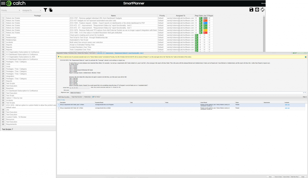 Showing easy access from Test Plan Management Tool to a test execution