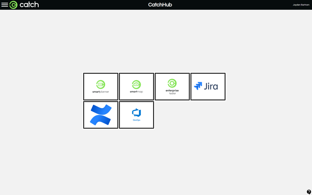 CatchHub Dashboard showing tiles of Atlassian JIRA, Confluence, Azure DevOps, Catch products; Enterprise Tester, SmartPlanner, SmartMap